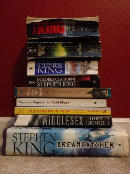 A plethora of Stephen King, and a few others, added to the vertical library.