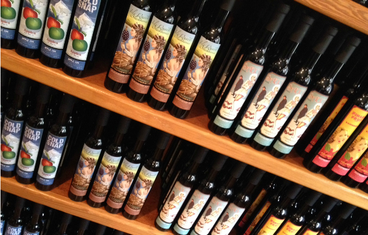 Fruit wines on the shelf at Fort Wine.