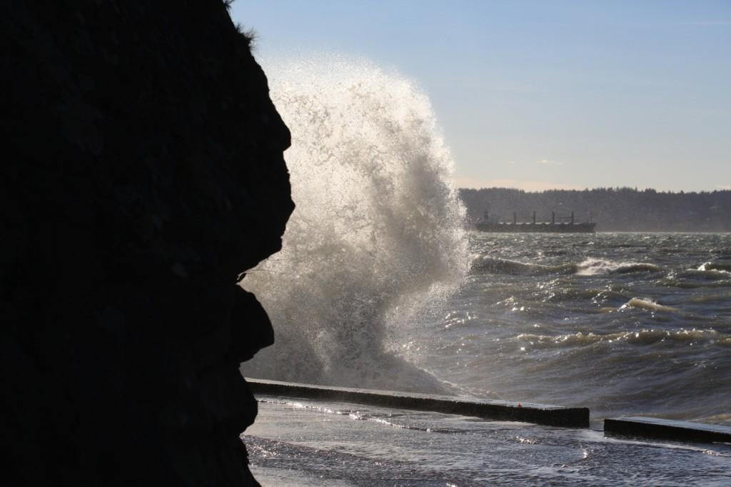 English Baya seawall wind waves