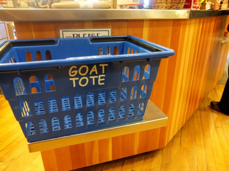 The goats that live on the roof at Coombs are gone for the winter but shopping there is still done with a Goat Tote.