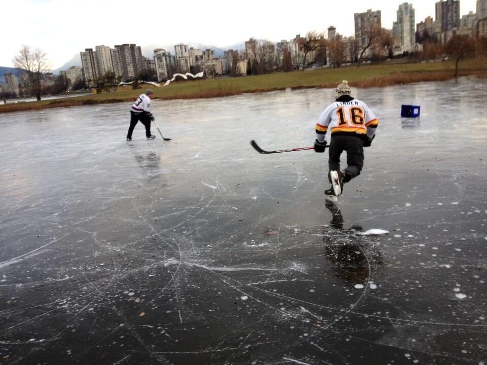 Vanier Park ice pond hockey