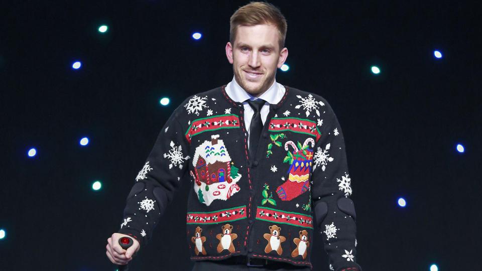 Canucks ugly sweater Jordan Schroeder