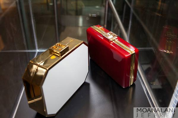 Jill Milan's Octagon Clutch in White and Laurel Canyon in Red for Evening Section--Photo by Moanalani Jeffrey Photography