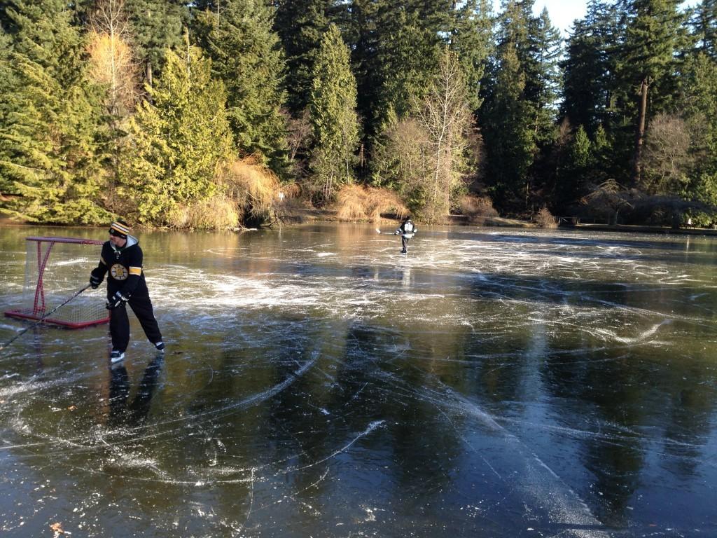 Central Park Burnaby ice pond hockey skating