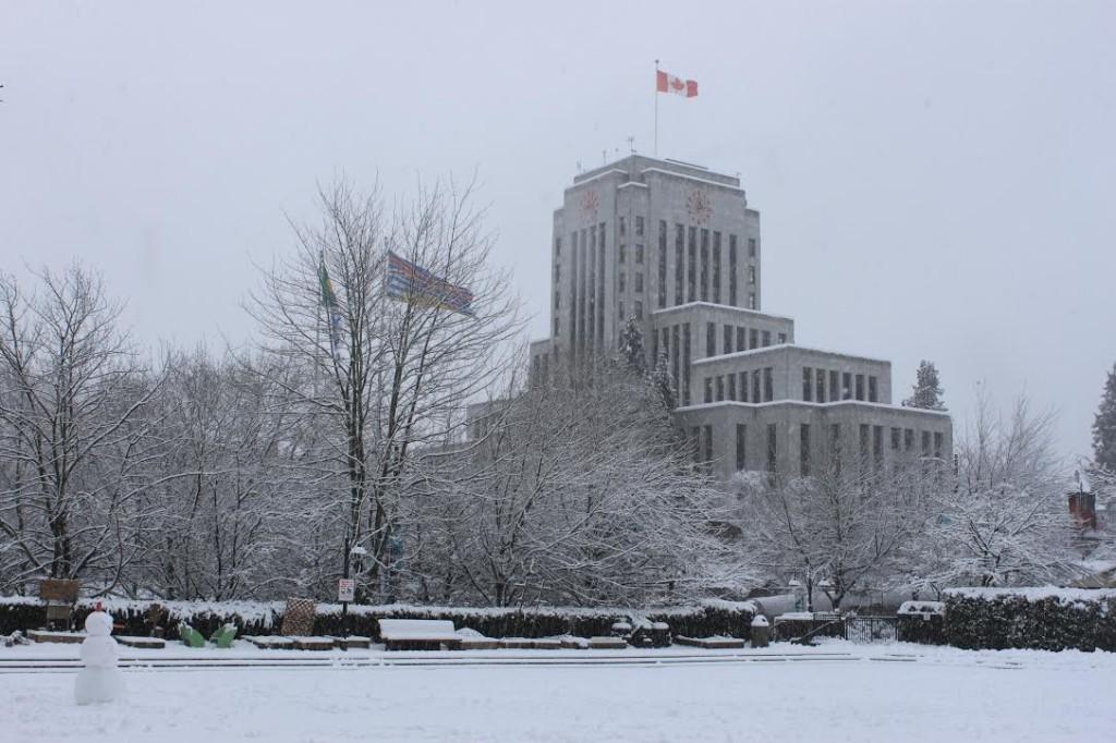 Vancouver City Hall snow