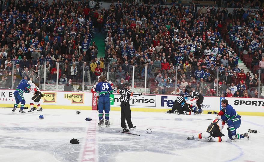 Canucks Flames line brawl fight