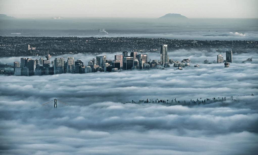 Vancouver skyline fog