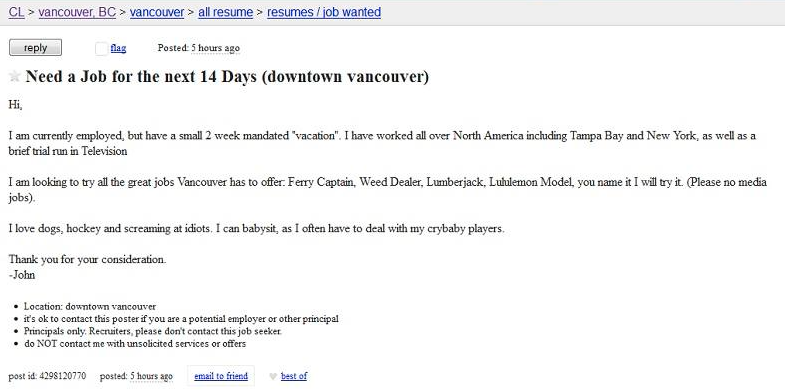 John Tortorella Craigslist job search posting | News