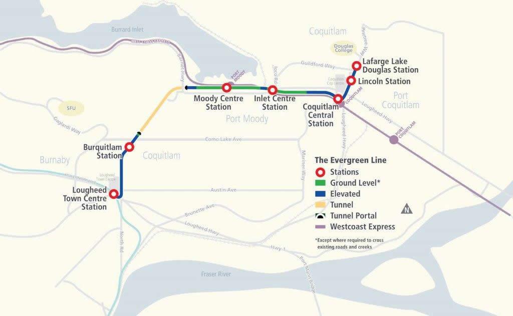 SkyTrain Evergreen Line Map