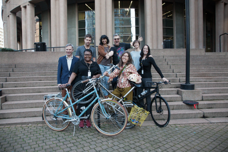 Staff of Vancouver Public Library, including members of Pedal Pushers.