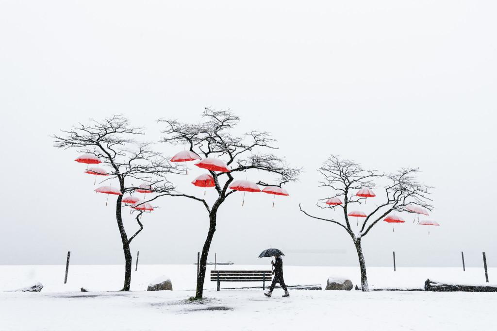 Red umbrellas Spanish Banks public art