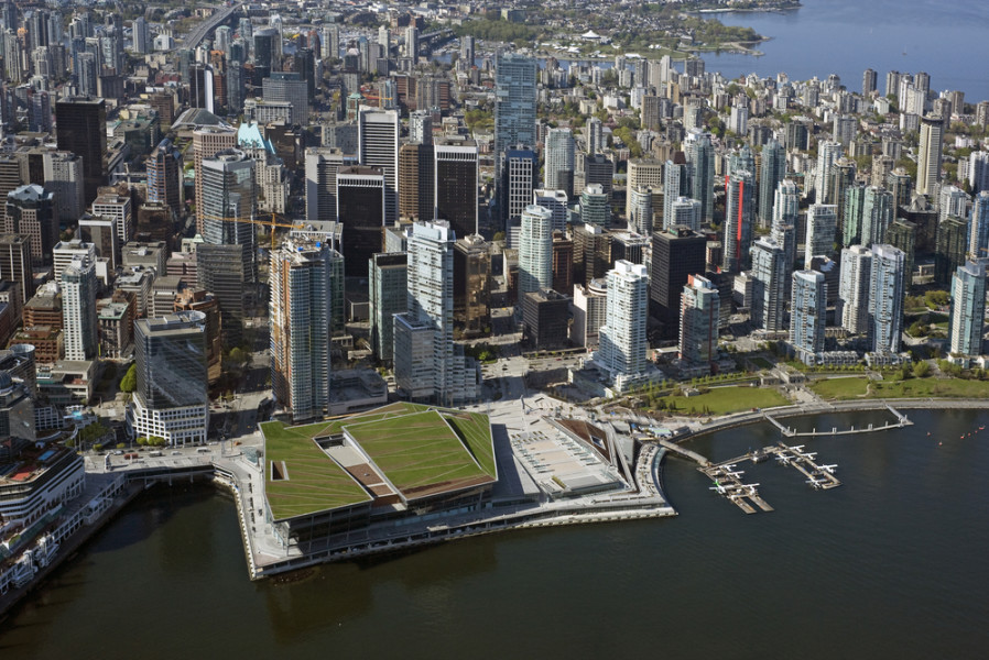 Vancouver Convention Centre Downtown Aerial City Skyline / Shutterstock