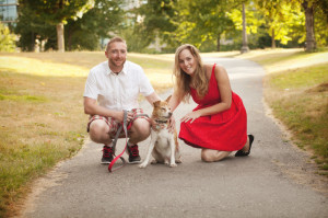 Jenny MacKay with her husband and senior dog Pete
