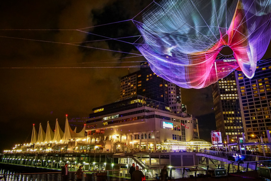 Skies Painted with Unnumbered Sparks by Janet Echelman TED Vancouver Convention Centre