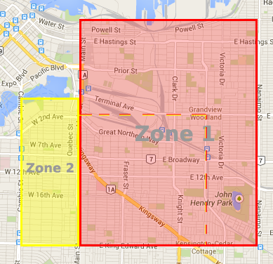 Delivery zone map
