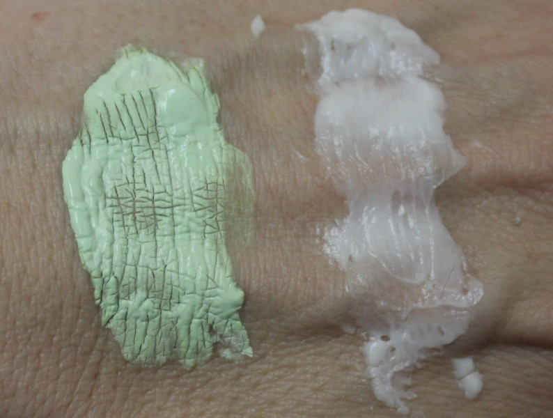 On the left, my usual clay-based mask. On the right, the Murad mask.