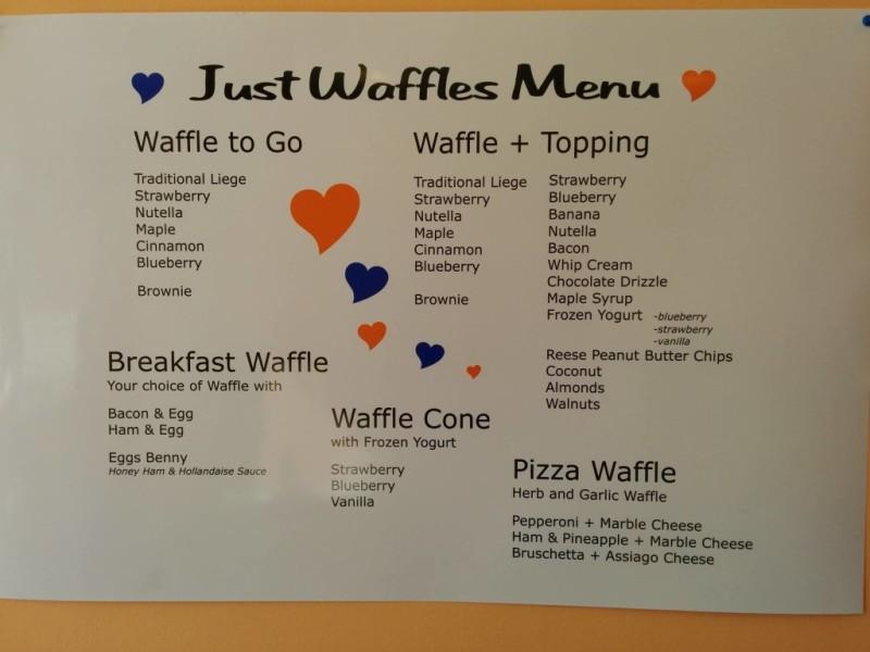 Just Waffles Menu