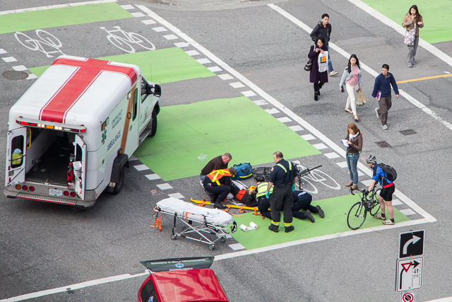 Dunsmuir bike lane accident
