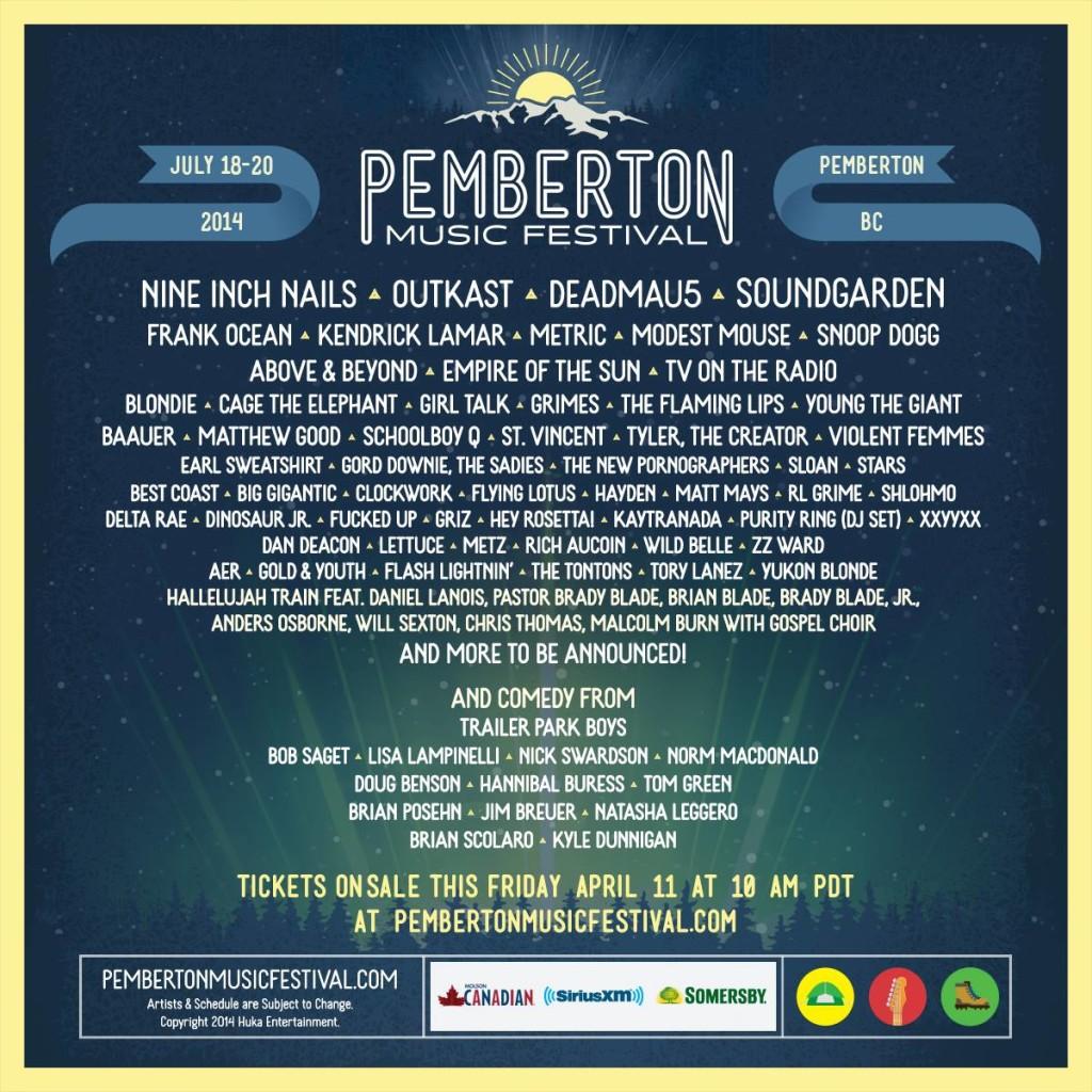 Pemberton Music Festival 2014 Lineup