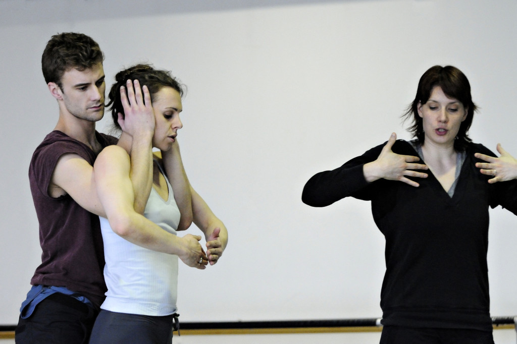 Ballet BC Artistic Director Emily Molnar with dancers Alexis Fletcher and Peter Smida-photo by Michael Slobodian (colour)