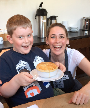My son and I recently learned to make Chicken Pot Pie at a cooking class at The Dirty Apron cooking school.