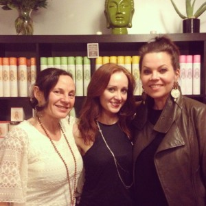 From left to right: Glynnis, Eleni Tsapas of Bling PR, with Danielle LaPorte