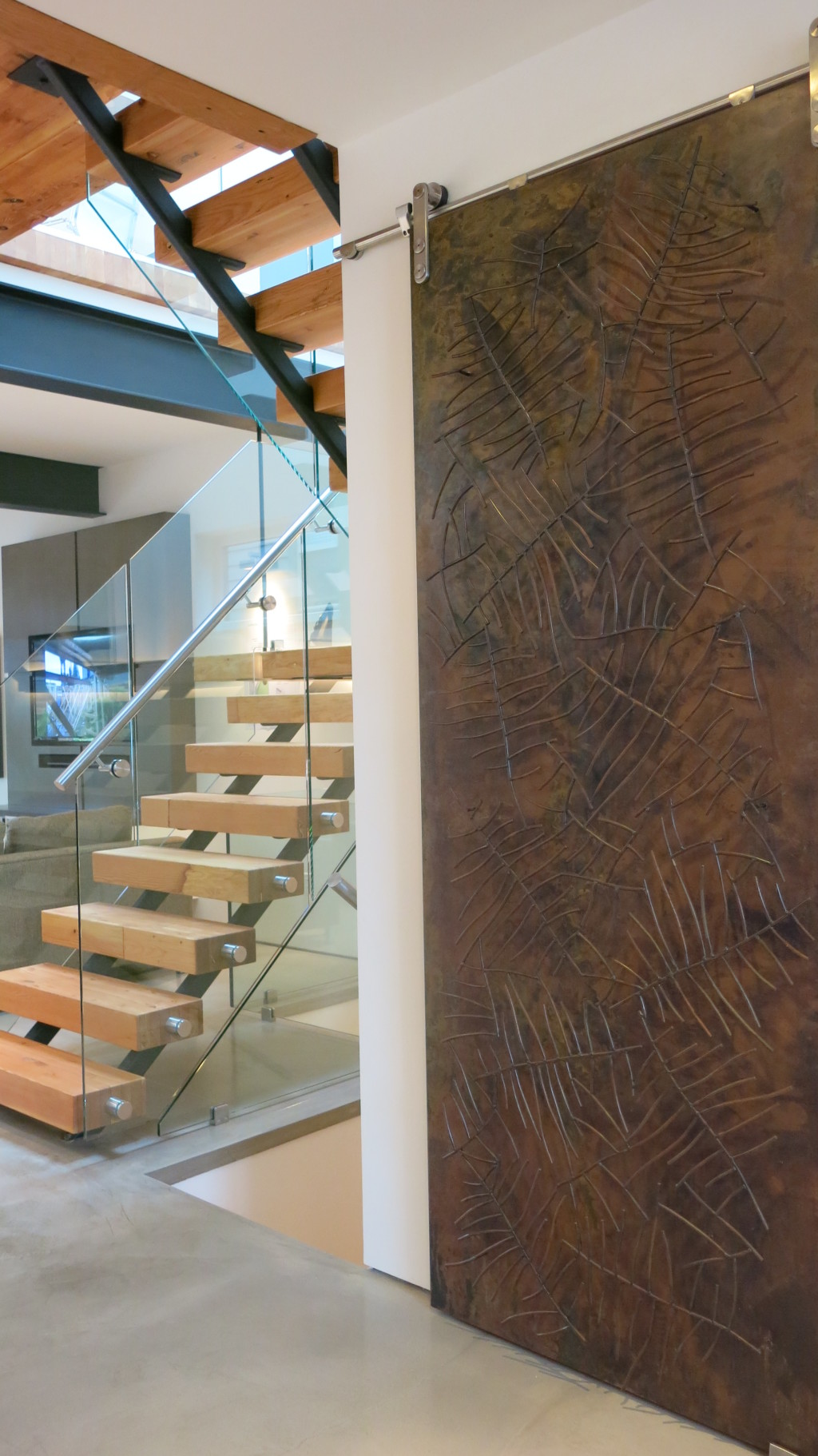 Image: Sliding door panel is an artistic composition and functional.