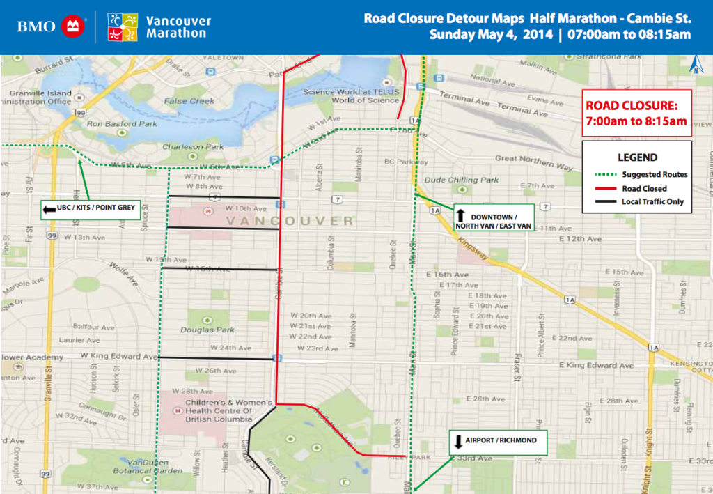BMO Vancouver Marathon 2014 Road Closures