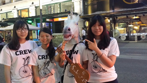 Busker Fest Volunteers pose with the Unicorn – our ad hoc Mascot, Credit: VIBF 2014