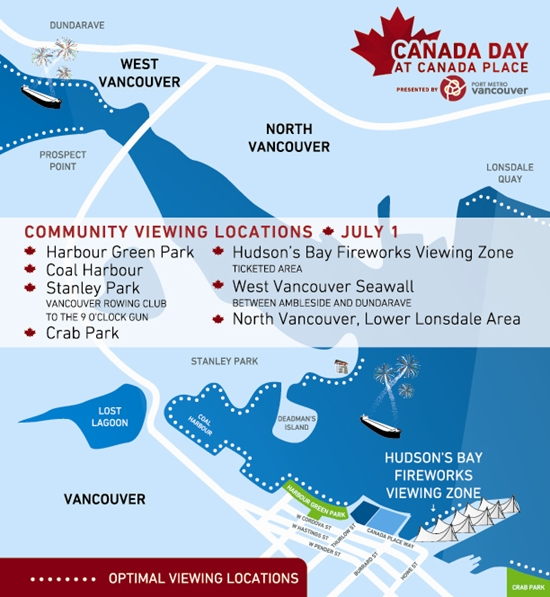 Canada Day Fireworks vancouver Viewing areas