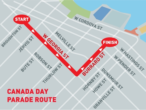 Canada Day Parade vancouver Map