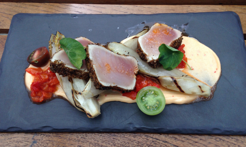 Moroccan spiced albacore tuna with grilled hot house endive and harissa sauce.