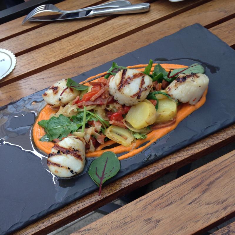 Quadra Island We Wai Kai scallops with fingerling potato, chorizo and romanesco sauce.