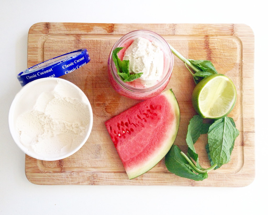Watermelon Mint Coconut Ice Cream Float