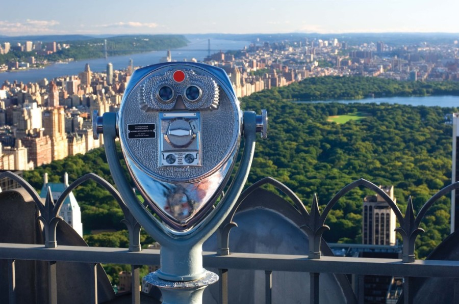 Binocular Viewers at Top of the Rock Observation Deck, August 20