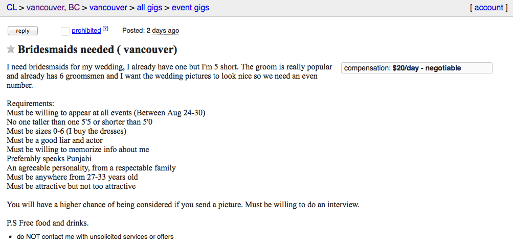 craigslist bridesmaids