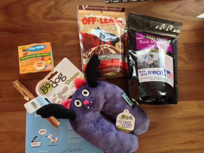The loot inside my first BarkBox delivery.