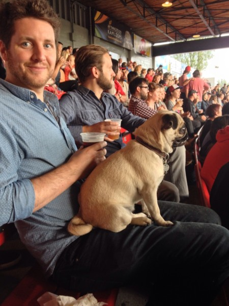 Sam Trounce and his girl Pip at Dog Days.