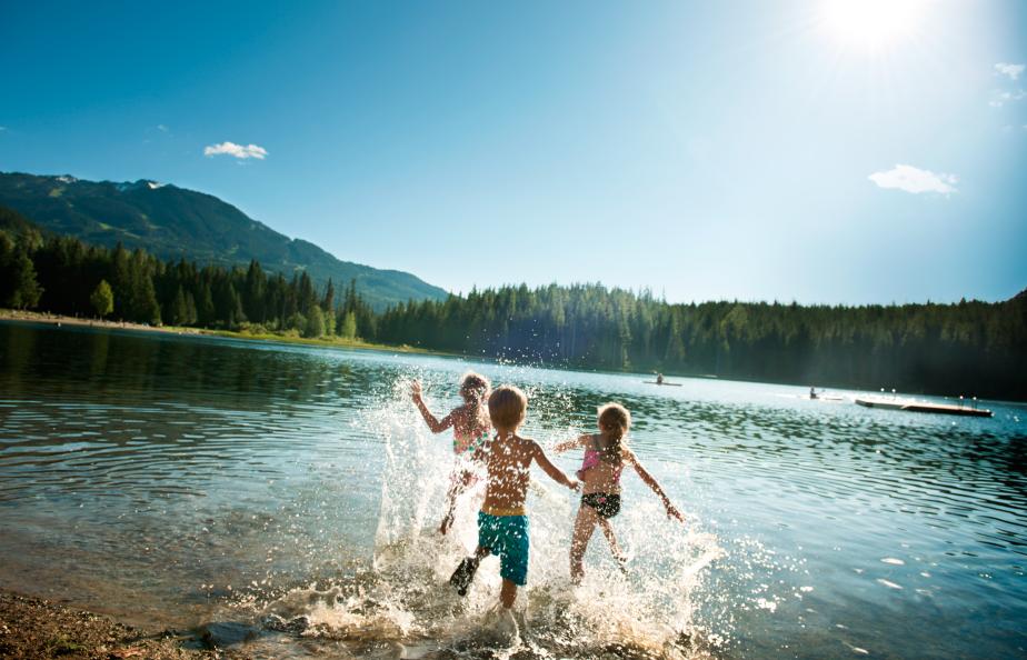 playing on lake