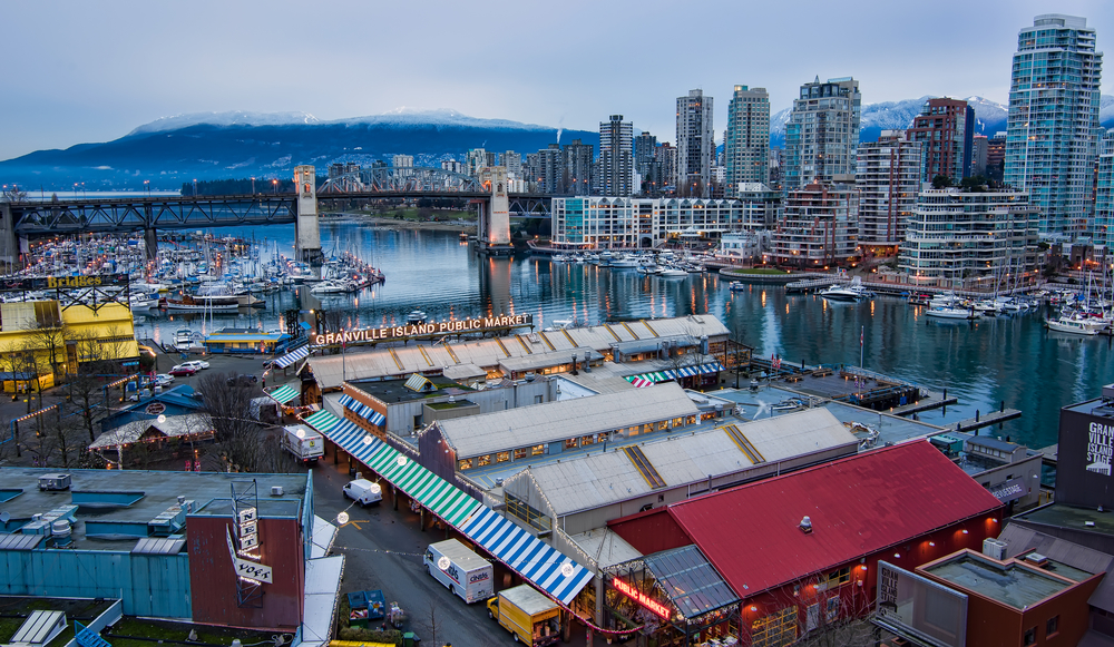 Granville Island Vancouver skyline False Creek / Shutterstock