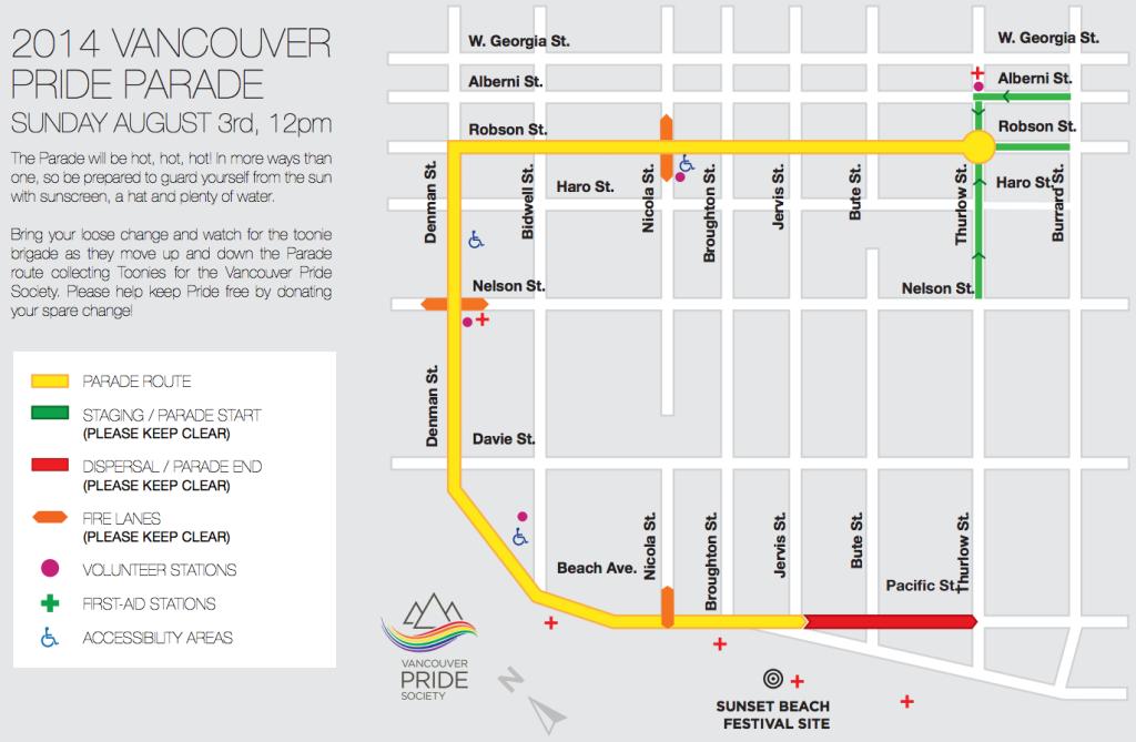 vancouver pride parade 2014 map