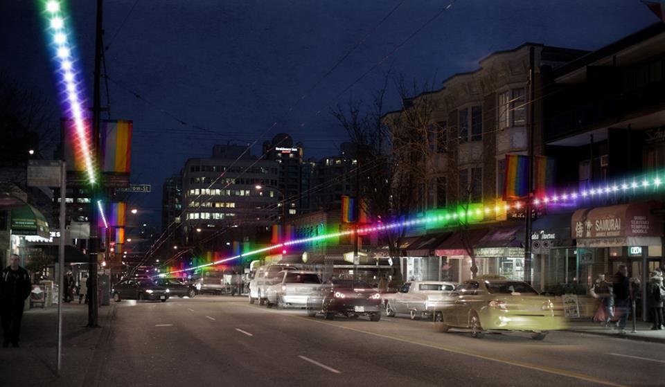 davie street davie village lgbt gay rainbow lighting strips