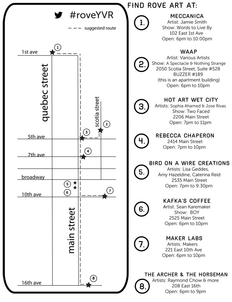 ROVE Tour Map