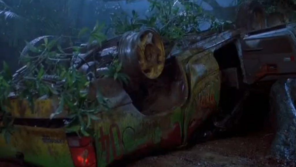 jurassic park turnovered car tree