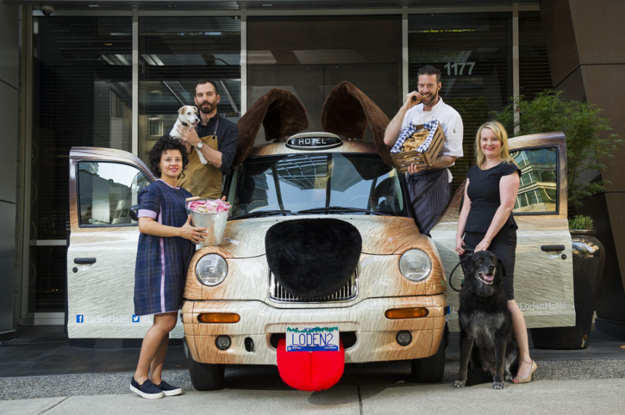 From left to right: Matt Martin, Homer St. Cafe & Bar (holding Lucie), Lilliana L. De Cotiis, Loden Hotel, Chef Marc-Andre Choquette, Melanie Parent, BCSPCA (with Burger)