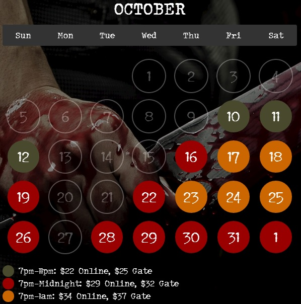 Fright Nights schedule