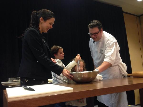 Chef Elliot (and helpers) are making homemade dog treats. (Westin Whistler/Twitter)