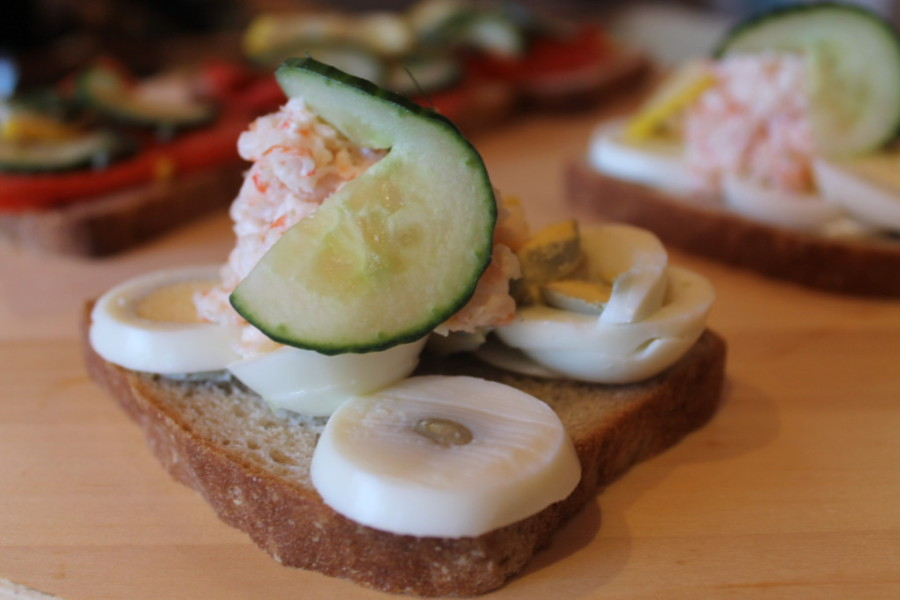 Traditional, open-faced sandwiches