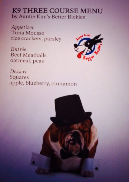 The dinner menu for dogs at the K9 Wine and Dine.