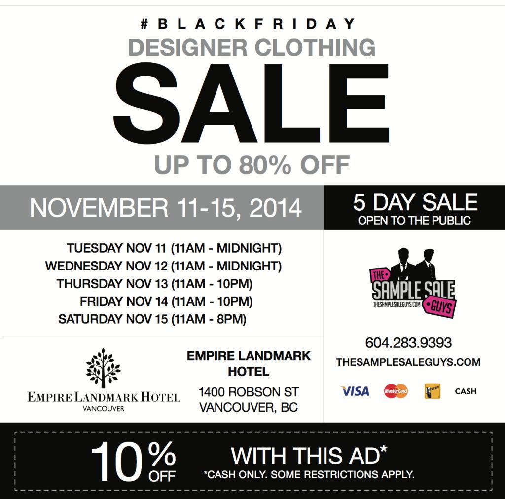 black friday sample sale 2014